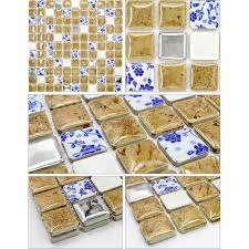 mosaic sheet blue white porcelain tile glaze kitchen backsplash