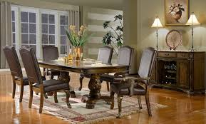 Mc Ferran D8801 7 Pc Chicago Collection Dark Finish Wood Dining Table Set With Faux Leather Upholstered Chairs Nail Head Trim