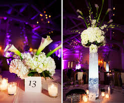 Tall White Hydrangea And Lily Wedding Centerpiece Flowers In Clear Vase