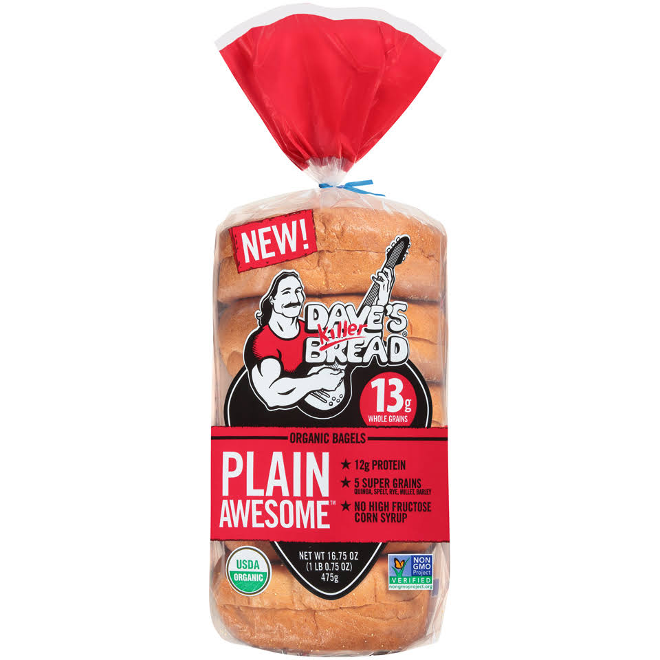 Daves Killer Bread Bagels, Organic, Plain Awesome - 16.75 oz