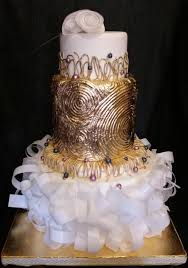 Gold Gilded Wedding Cake All Hand Sculpted