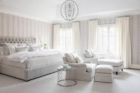 light gray bedroom with ivory curtains transitional bedroom