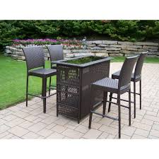 5 Piece Bar Height Patio Dining Set by Oakland Living Elite Resin Wicker 5 Piece Patio Bar Set 90053