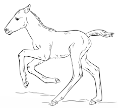Cute Running Foal Coloring Page