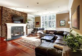 Family Room Addition Ideas by Captivating Fireplace And Tv With Brown Leather Sectional Sofa Set