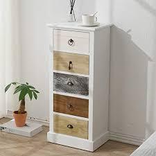 mobili kommode in weiß braun grau kleiner schrank mit 5 schubladen paulownienholz retro stil als einrichtung für schlafzimmer flur