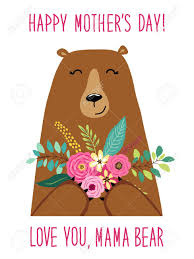 Cute Cartoon Mama Bear With Flowers Bouquet Mothers Day Card For Your Decoration Stock Vector