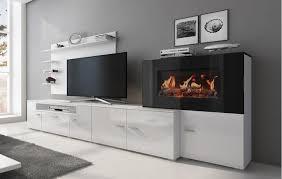 moderne wohnwand mit elektrischem kamin mit 5 flammstufen schrankwand wohnzimmer mattweiß und weiß lackiert maße 290 x 170 x 45 cm tiefe