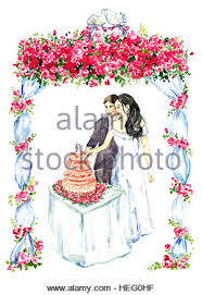 Groom and bride cutting pink wedding cake under gazebo decorated with red roses and two kissing