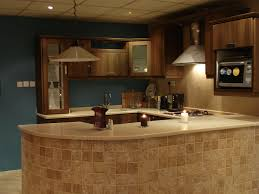 Excellent Kitchen Cabinet Refacing Ideas For Your With Slove And Chandelier Blue Wall