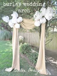 Rustic Backyard Wedding Burlap Or Doorway Arch With White Tissue Paper Pom Poms