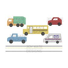 100 Build Your Own Truck City Vehicles Set Embroidery Design Joy Kate Designs