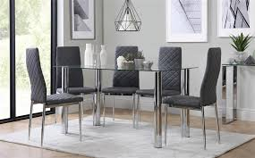 Gallery Lunar Chrome And Glass Dining Table With 4 Renzo Grey Chairs