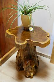 holz beistelltisch baumscheibe teakholz tisch wurzelholz rustikal wohnzimmer neu