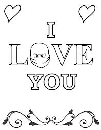 I Love You Ninjago Valentines Coloring Page