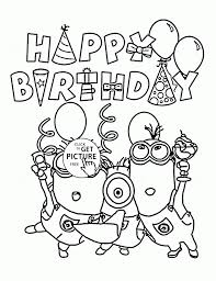 Minion Birthday Holiday Celebration Coloring Pages For Kids