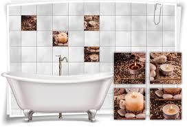 fliesen aufkleber bild salz kerzen holz steine spa wellness