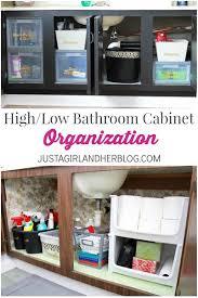 high low bathroom cabinet organization abby lawson
