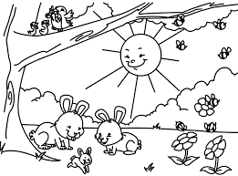 Springtime Printable Coloring Pages Clipart Pencil And In Color