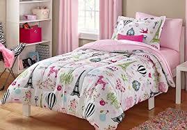 Paris Bedding Set Girls Twin Pink White and Black Cute Parisian