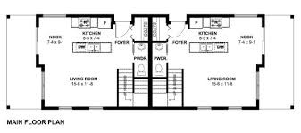 Small Duplex Floor Plans by Small Narrow Lot Duplex House Plan Hunters