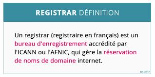 bureau d enregistrement nom de domaine registrar nom de domaine définition dictionnaire informatique web