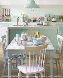 A Gorgeous Pastel Dining Room And Kitchen Area