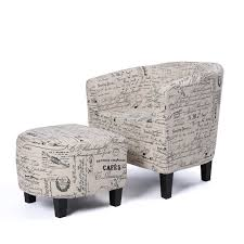 100 Accent Chairs With Arms And Ottoman BELLEZE Modern Barrel Chair With Linen Round
