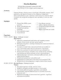 Resume Waitress Responsibilities Server Job Description