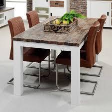 esstisch mit stühlen aus akazie massivholz braun kunstleder