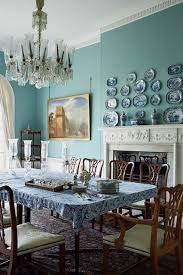 traditional blue country style dining room design ideas