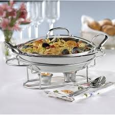 Round Stainless Steel Buffet Server Chafing Dish Food Tray Glass Lid Banquet Pan