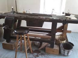black lab woodworking antique workbench