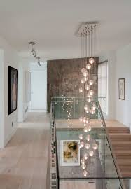 Lighting Ideas For Staircase Hall Contemporary With Brown Textured Wall Accent Bocci Light