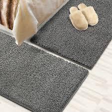 details zu läufer shaggy bettumrandung teppich für schlafzimmer im läuferset 3 teilig grau
