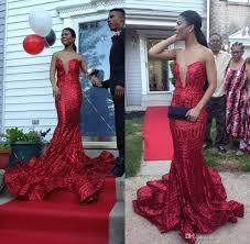sparkly long red mermaid sequined prom dresses 2017 for