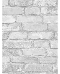 FD41488 White And Silver Rustic Brick Effect Wallpaper