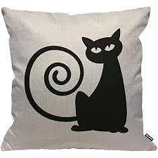 hgod designs kissenbezug katze cat schwarz katze mit lustig kreis schwanz kissenhülle haus dekorativ für männer frauen jungen mädchen wohnzimmer