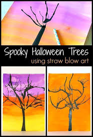 Halloween Art Project For Kids Make Spooky Trees By Painting With Straws And Air