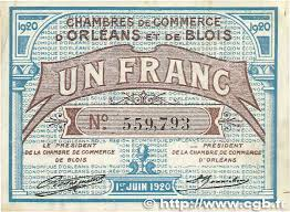 chambre du commerce blois 1 franc régionalisme et divers orléans et blois 1920 jp