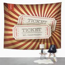 Amazoncom Emvency Tapestry Brown Theater Cinema Tickets On Retro