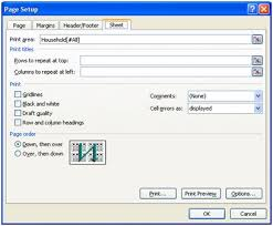 Excel 2007 Print Titles Button