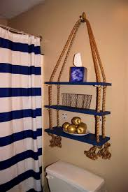 Simple Diy Nautical Hanging Shelf With Rope That Will Impress Your Bathroom Decor