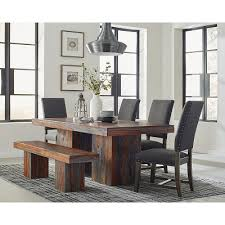 Binghamton Rustic Dining Table Set With Bench Color Option