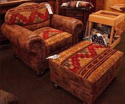 Distressed Leather Armchair And Ottoman W Rustic Fabric