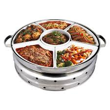Stainless Steel Large Malay Dome Set Food Warmer Round Chafing Dish