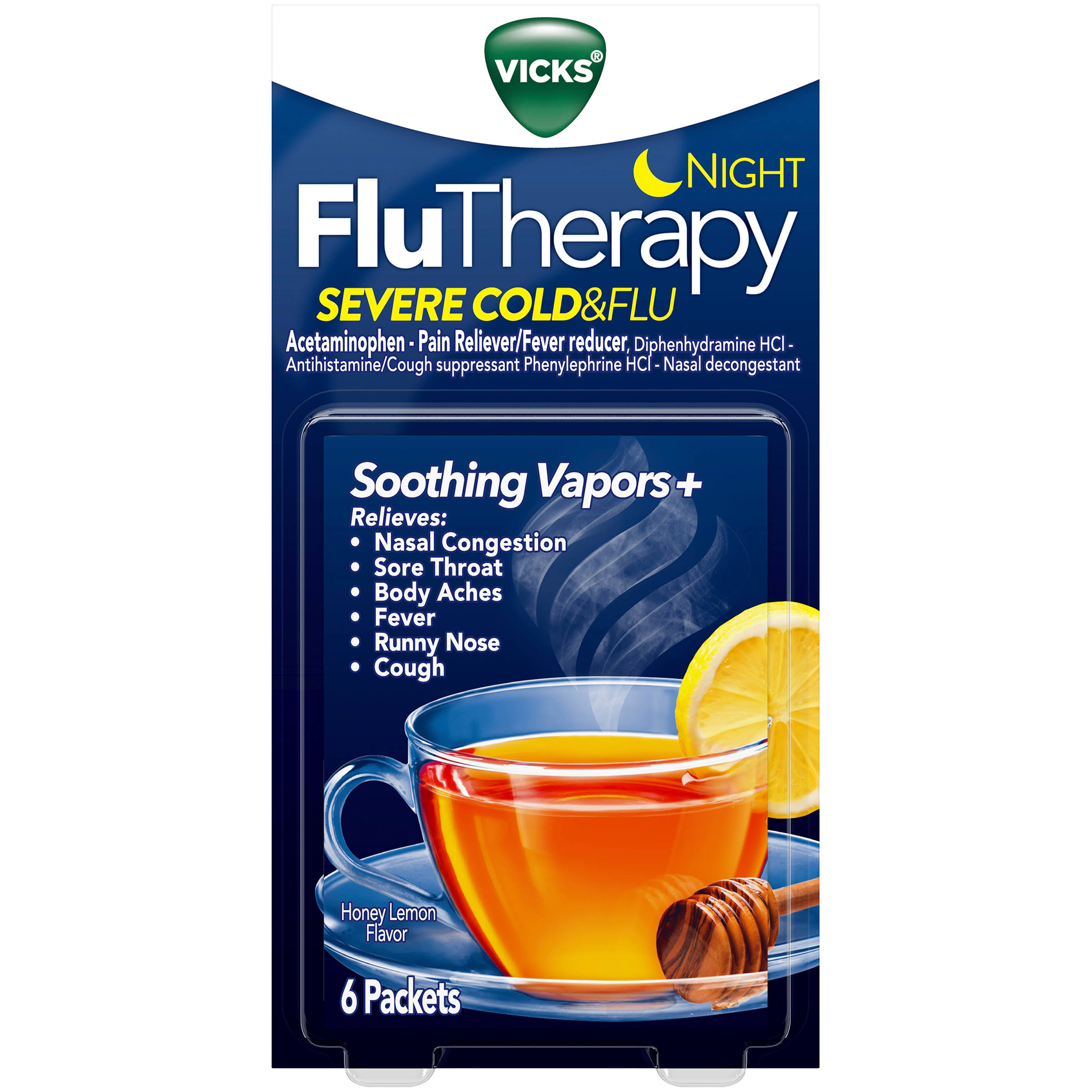 Vicks Flu Therapy, Severe Cold & Flu, Night, Honey Lemon - 6 packets