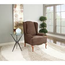 Stretch Suede Wing Chair Recliner Slipcover by 100 Wing Chair Cover Eysa 1 Square Sucre Wing Chair Cover