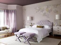 Set Of Bedside Table Lamps by Purple Fabric Curtains On The Hook And White Bedding Set On The