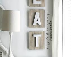 Wood Eat Sign Faux Metal Letters Silver